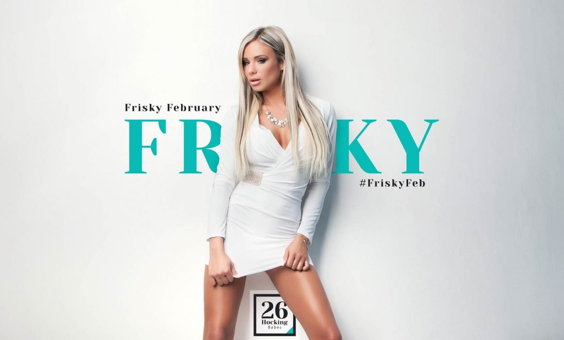 Frisky February Promotion - Poster Shows Frisky Blonde Woman